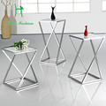 Fashion  black white stainless steel  sofa side table small tea table