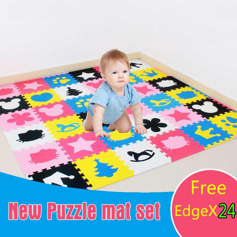 Meitoku baby Foam play puzzle floor mat,18 or 36pcs Interlocking Exercise Gym Rug carpet Protective Tile for kids(free edge) cute letter eva foam baby toy puzzle play mat interlocking game exercise gym tile floor pad child kid 30x30x1 3cm 30pcs 22border