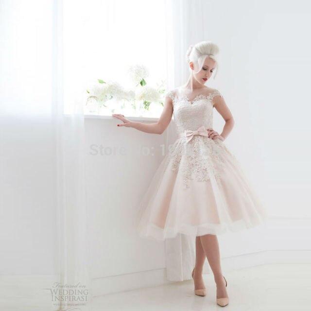 Vintage Pink Blush Short Wedding Dress Gowns Appliques Zipper Knee ...