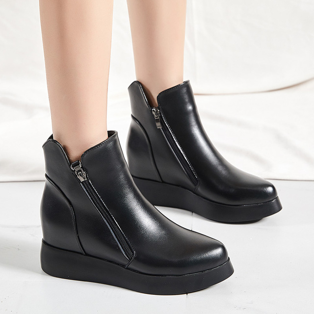 043efdbf0d5 Dumoo Brand Shoes Women Genuine Leather Boots Heel 7cm Height Increasing  Martin Boots Platform Wedges Shoes zapatos de mujer2018
