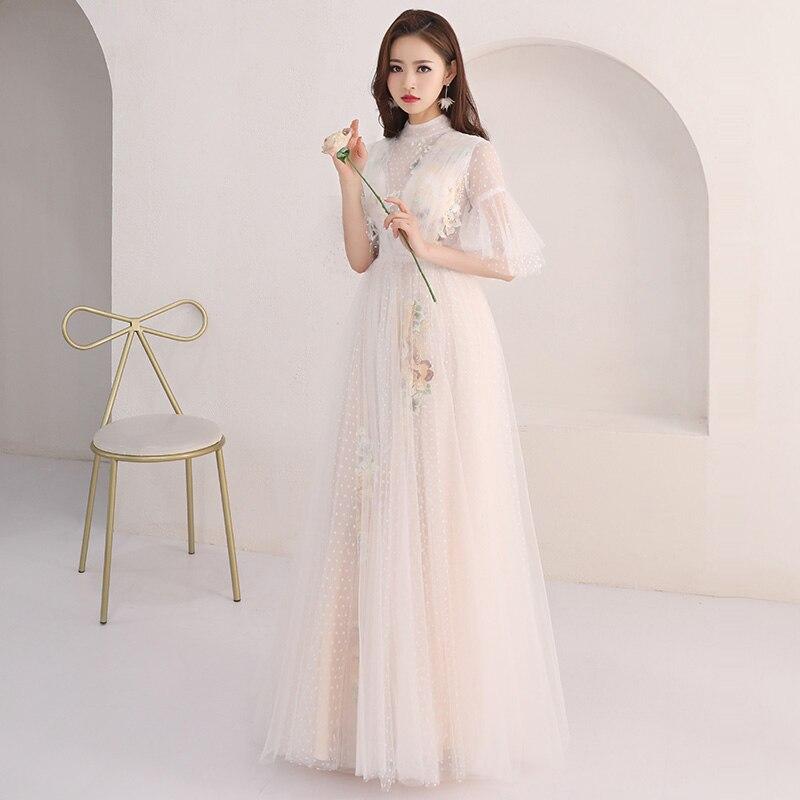 Evening Dress Half Sleeve Zipper Women Party Dresses Pattern Flowers Robe De Soiree 2019 Plus Size High Collar Formal Gowns E703