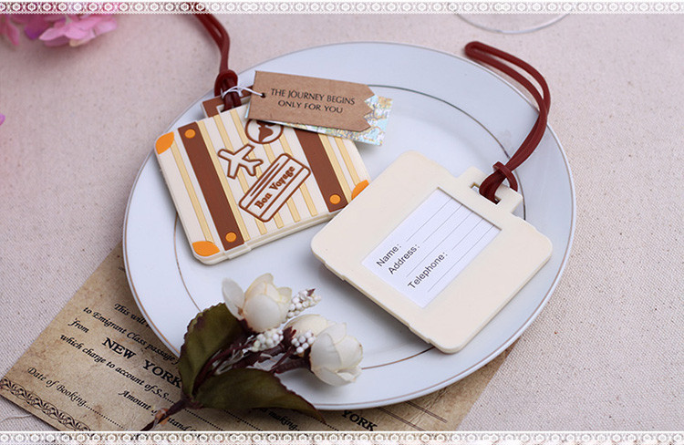 Свадебный подарок и подарками для гостей-Пусть путешествие начнется Винтаж чемодан Чемодан бирку партия сувенир 100 шт./лот