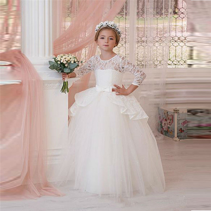 Hot Sale White Puffy Little Girls First Communion Dress Long Sleeve Ball Gown with Sash Lace Flower Girls Dress Free Shipping