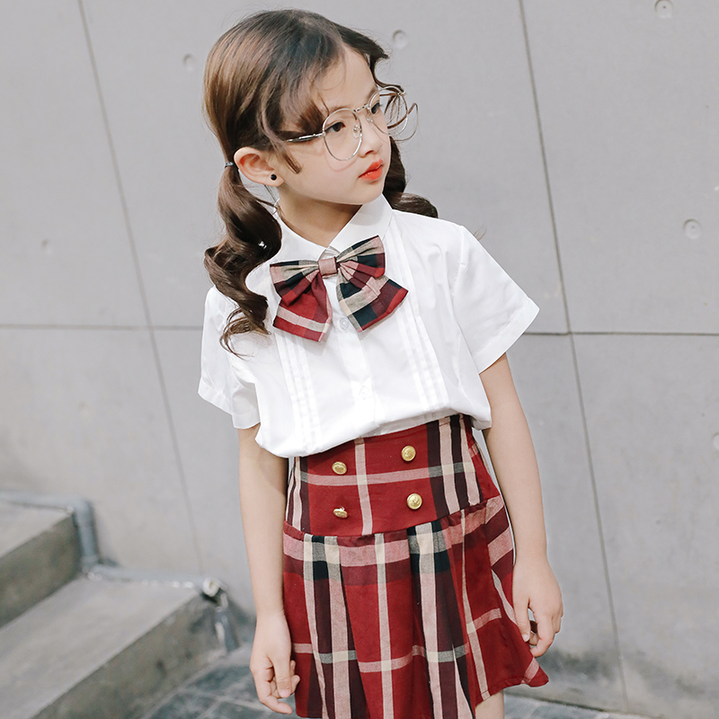 New style student summer girls clothing set Knitted shirt bow shirt +Pleated skirt kids school uniform