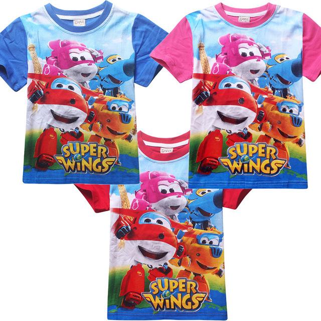 2016 novos meninos roupas Crianças camiseta de algodão de manga curta t-shirt com Superwings verão dos desenhos animados meninos roupas