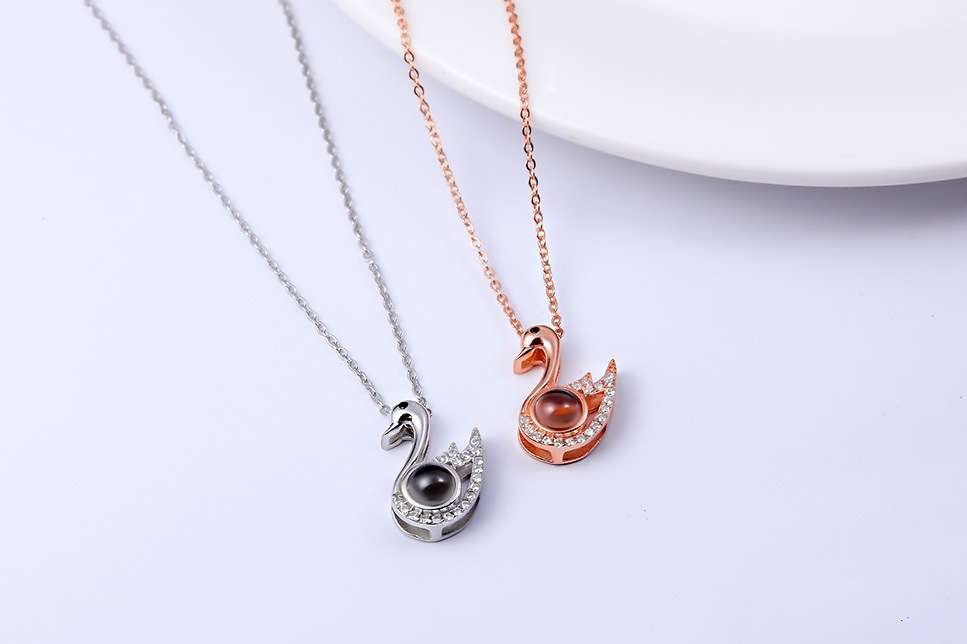 925 Sterling Silver Rhinestone Pendant Necklace Projection 100 Languages I Love You New Year Gifts Man Woman Jewelry Accessories in Pendants from Jewelry Accessories