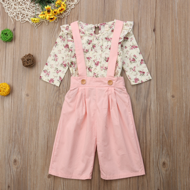 2PCS Toddler Kids Baby Girl Winter Clothes Floral Tops+Pants Overall Outfits sweet girl clothes set 10