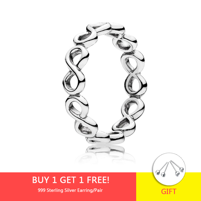 925 Sterling Silver Women Elegance Rings Lucky Number 8 Fortune Ring for Women Wedding Engagement Jewelry