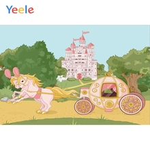 Yeele Vinyl Palace Horse Carriage Children Birthday Party Photograph Backdrop Baby Girl Green Photocall Background Photo Studio