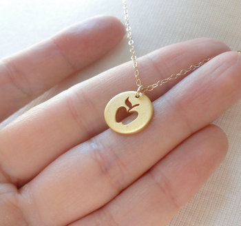 Round Coin with Hollow Apple Shape Necklace Funny Fruit Apple Pendant Circle Necklaces for Mentor Teacher Party Gifts image