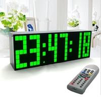 Large Big Jumbo LED Clock Display Table Desk Wall Alarm Remote Control Calendar Digital Timer LED Watch Blue Clock
