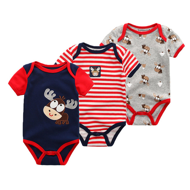 3Pcs Fashion Infant Baby Suit 0-12M Baby Boys Clothes Short Sleeve Baby Rompers Roupas de bebe Clothing Sets Baby Girl Clothes