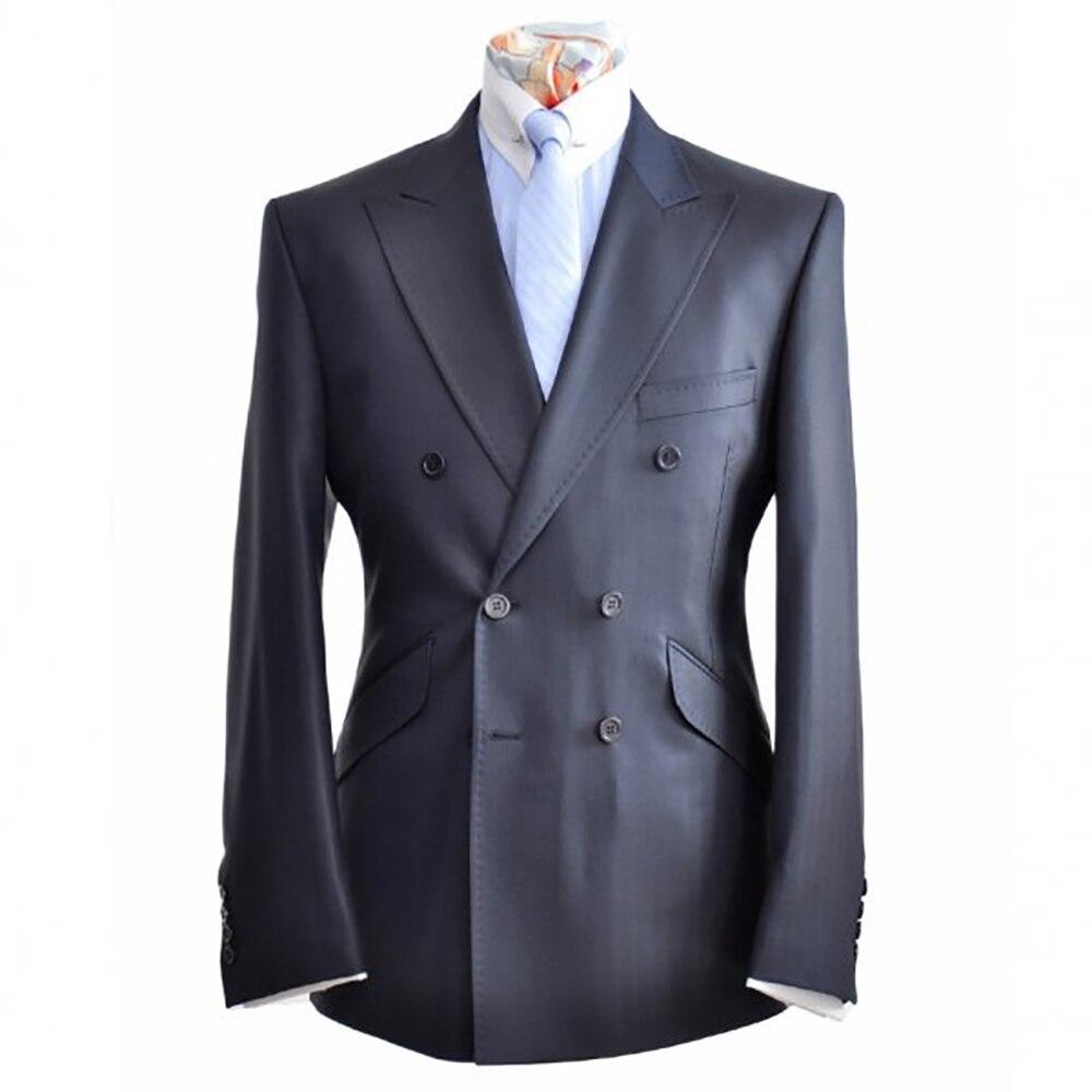 사용자 정의 남자 정장 남자 맞춤형 슬림 맞는 진한 파란색 회색 더블 브레스트 정장 siding 플랩 포켓 피크 옷깃-에서정장부터 남성 의류 의  그룹 1
