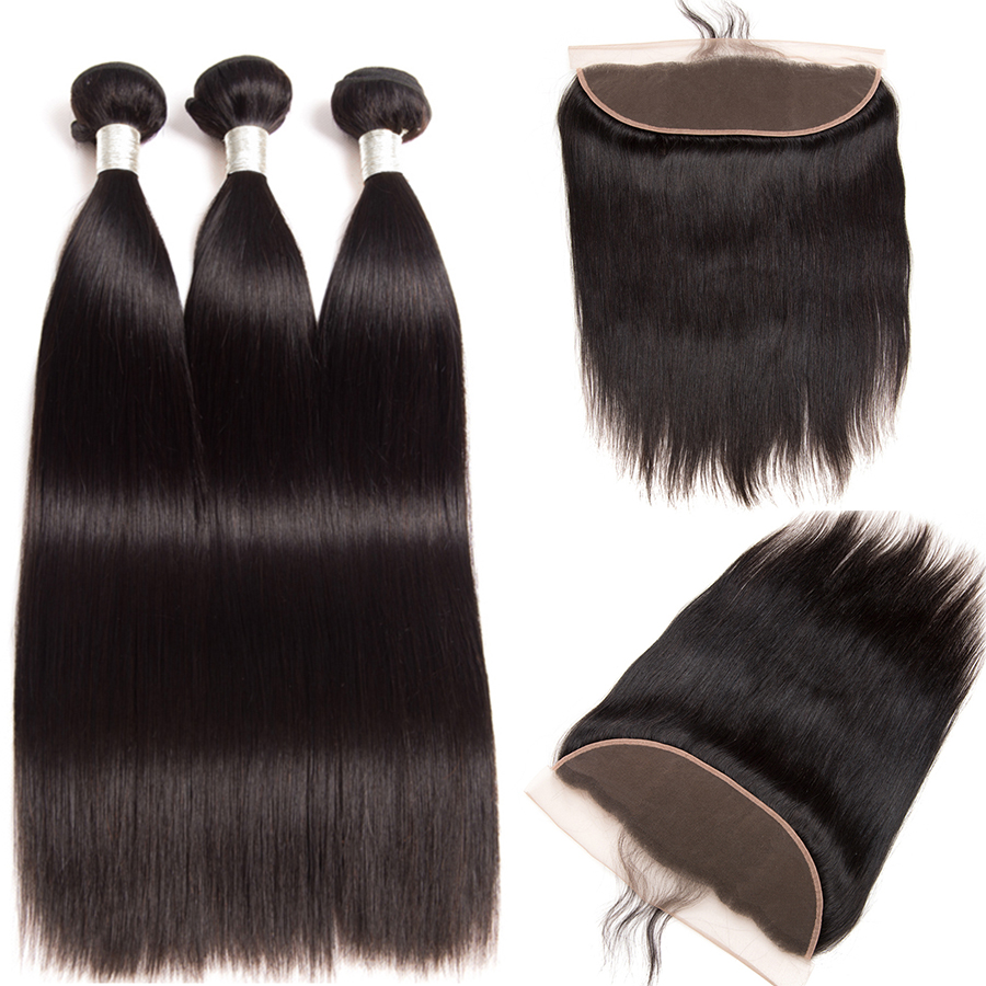 Peruvian Straight Hair 3 Bundles With Frontal Lace Closure Human Hair Bundles With Closure Alipop 13x4
