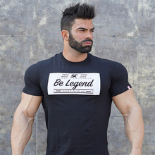 YEMEKE Mens summer fitness Bodybuilding cotton t-shirt gyms