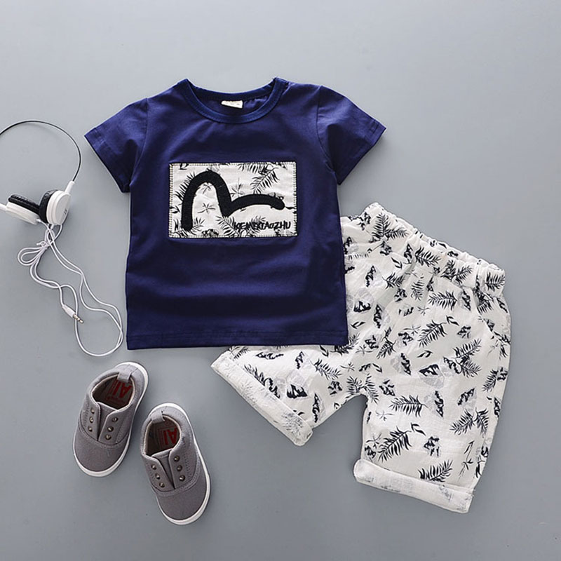 2017 Summer kids Baby Boy Clothes Outfits casual Sports Print Sets for little child Boy's Brand Design tracksuit Clothing sets