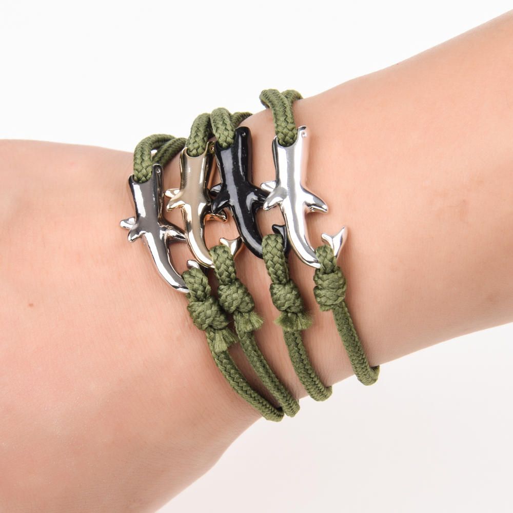 Viking Ocean Shark Charms Bracelet Couple Braided Adjustable Rope Chain Handmade DIY Bracelets for Men Women Jewelry