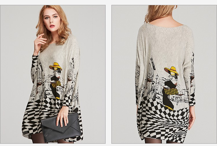 New 17 Autumn Long Women Sweater Casual Coat Batwing Sleeve Print Women's Sweaters Clothes Pullovers Fashion Pullover Clothing 3