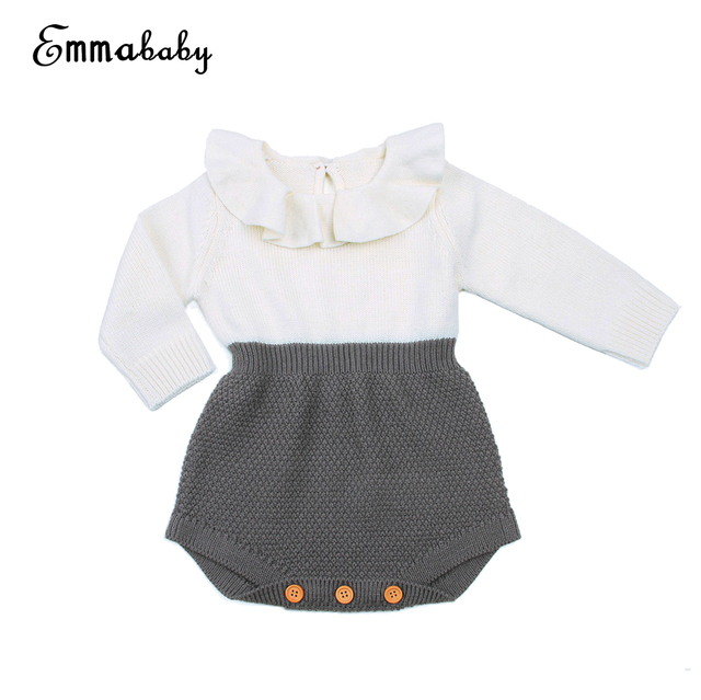 bcdc24f4e 2017 Kawaii Rompers Newborn Baby Girl Clothes Wool Knitted Tops ...