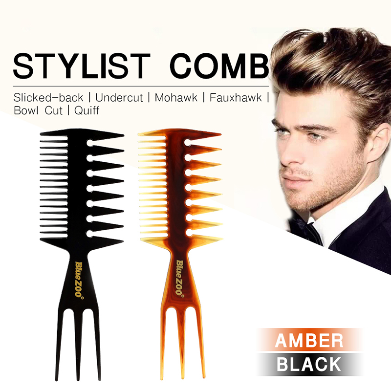 Men Hair Brush Three-sided Hair Comb Amber Black Color Insert Afro Pick Durable Comb Wide Tooth Oil Slick Hair Styling Too