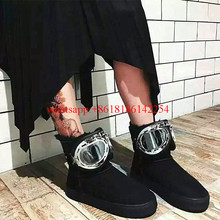 2016 Female Winter Boots New Big Glasses Snow Boots Fashion Soft Leather Wool Boots Short Ankle Shoes Warm Shoes Botas Mujer