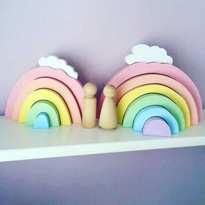 ไม้ Rainbow Decor เนอสเซอรี่เด็ก Rainbow Decor อาคารบล็อก INS Nordic ตกแต่งบ้านของเล่นเด็กสายรุ้งบล็อก