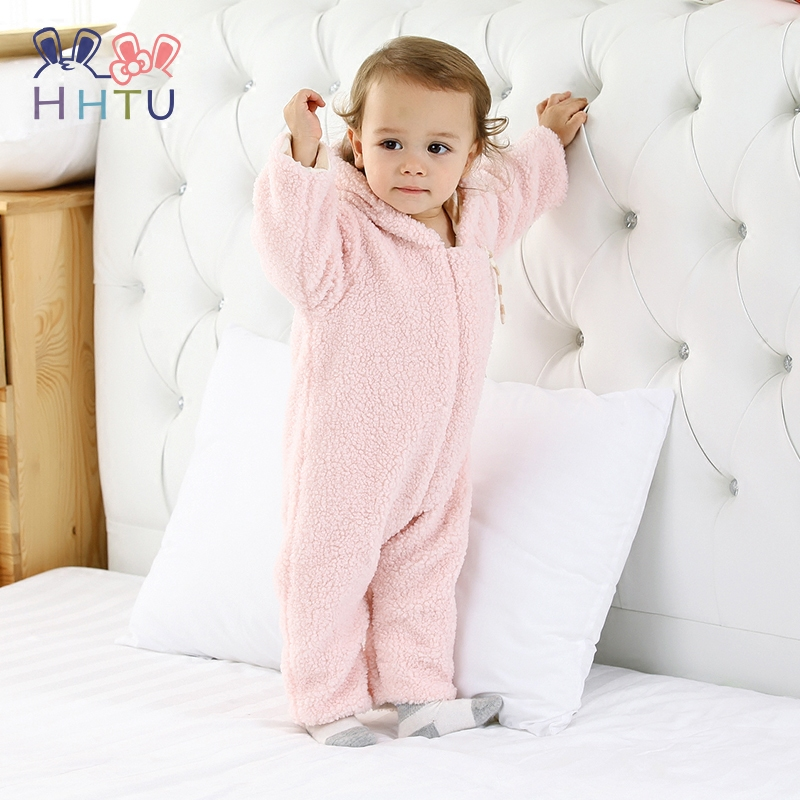 HHTU Cute Baby Boys Girls Rompers Hooded Infant Jumpsuit Winter Autumn Keep Warm Newborn Clothes Long Sleeve Clothing Thickening baby climb clothing newborn boys girls warm romper spring autumn winter baby cotton knit jumpsuits 0 18m long sleeves rompers