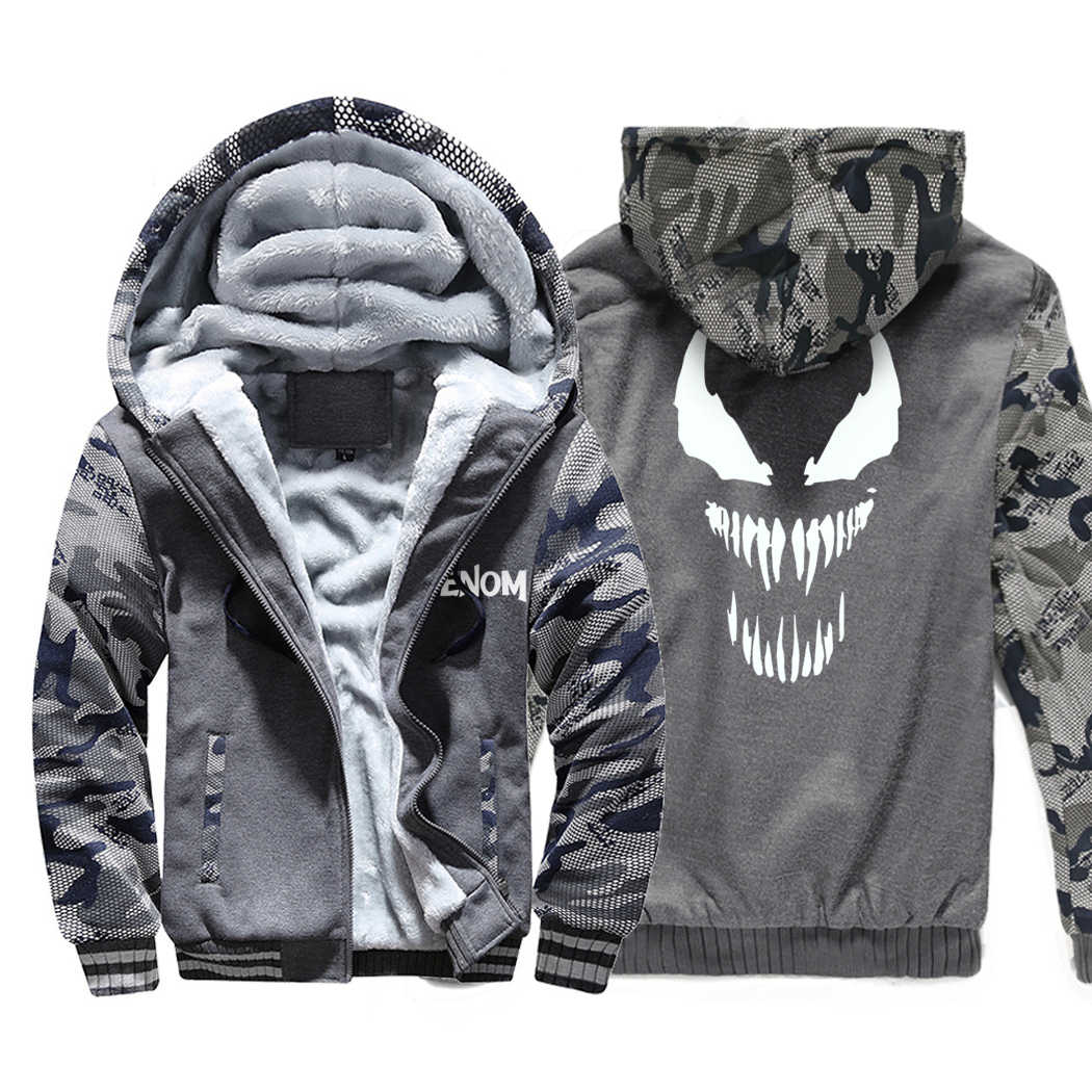 Superman Venom Hoodies Männer 2020 Heißer Winter Dicke Camouflage Jacken Harajuku Warm Sweatshirts männer Military Mantel Marke Kleidung