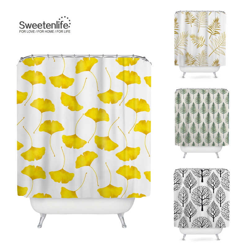 Sweetenlife Modern Bath Screens Decorated Custom Plant Bathroom Curtain Designs 180*180 Waterproof Shower Curtain Drop Shipping