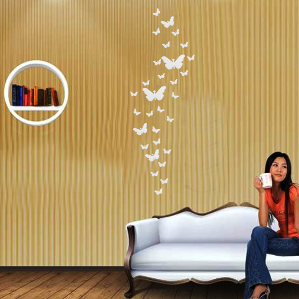 DIY 3D Modern 30pcs Butterfly Combination Wall Stickers Silver ...