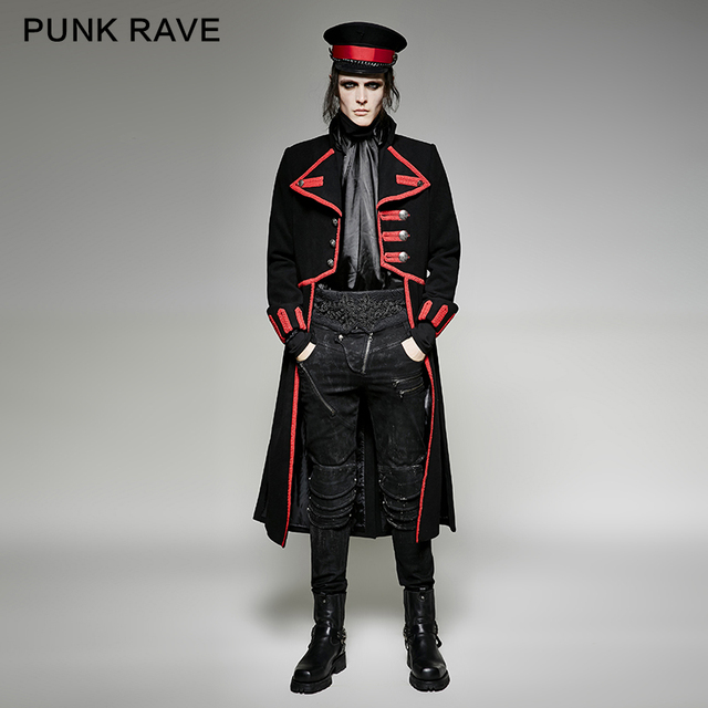 PUNK RAVE military uniform special design black long coat  y-713