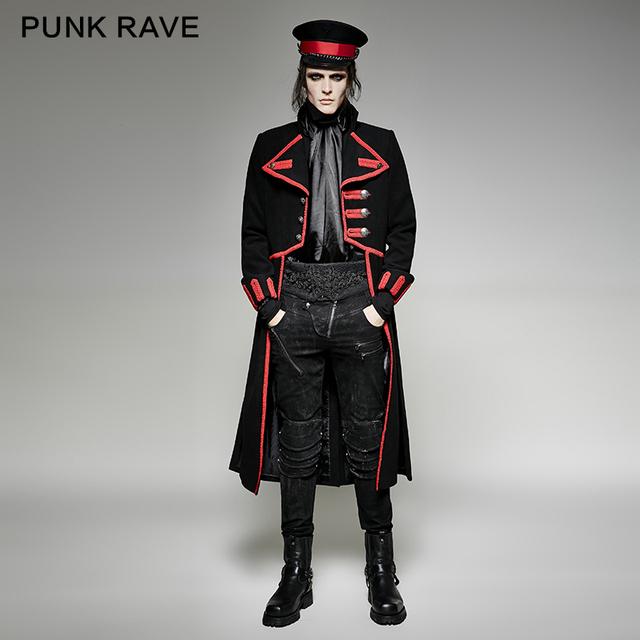 PUNK RAVE uniforme militar especial diseño largo abrigo negro y-713