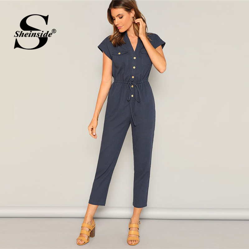 Sheinside Casual Drawstring Tie Waist Shirt   Jumpsuits   Women 2019 Spring Mid Waist Tapered   Jumpsuits   Ladies V Neck Solid   Jumpsuit