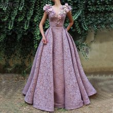YEWEN Dubai Design V-Neck Deep Pink Evening Dresses 2019