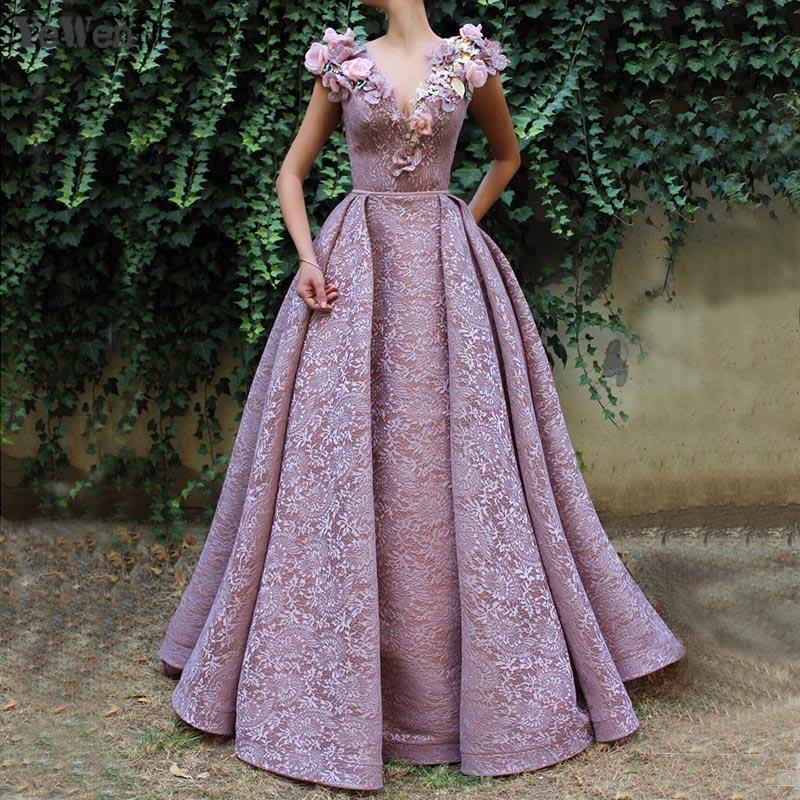 Dubai Projeto Decote Em V Profundo Vestidos de Noite Rosa 2019 Sexy Beading Flores Evening Vestidos vestido largo fiesta noche elegante