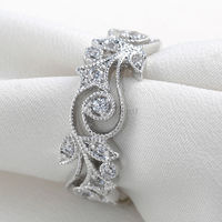 Wedding Engagement Fashion Ring For Women Round 925 Sterling Silver AAA Cubic Zirconia Size 6 7