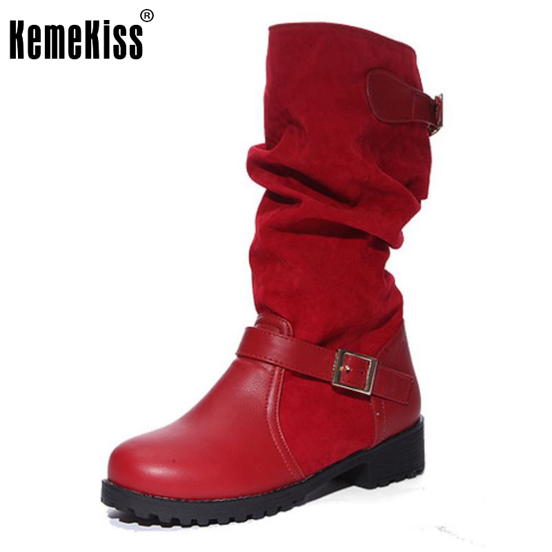 Women Flat Half Short Boots Autumn Winter Warm Mid Calf Boot Bota Buckle Round Toe Sexy Quality Footwear Shoes Size 34-43 coolcept size 35 40 ross strap flat mid calf boots women thickened fur winter warm snow half short boot footwear shoes p21267