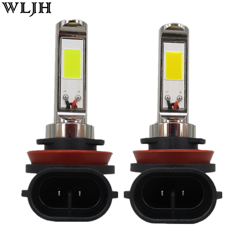 WLJH 2pcs 30W 800 Lumens COB Chip H11 Led Car Headlight Fog Light Bulbs DRL Daytime Running Light Driving Lamp Bulb 12V 24V 30V car styling 2pcs drl front fog lamp warning aluminium alloy external light chip led diy cob universal daytime running light
