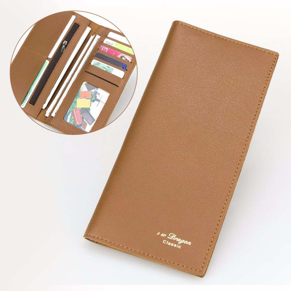 Classic Coffee Long Wallet Men Leather Wallet Zipper Pocket Inside Card Holder Minimalist Bifold Wallet Portable Casual Wallet