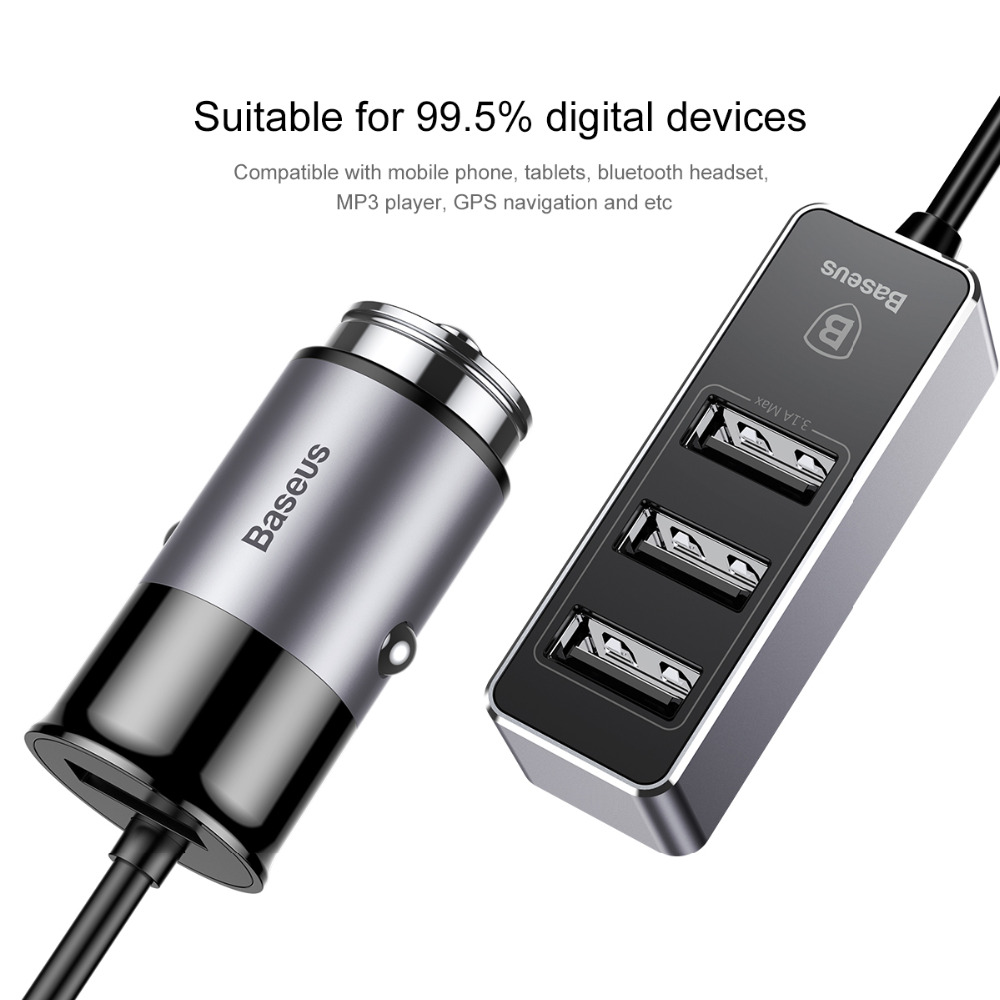 Baseus universal 4 port USB car charger adapter 3.1A fast charging socket for iPhone 6 7 8 Samsung phone tablet Car Lighter Slot