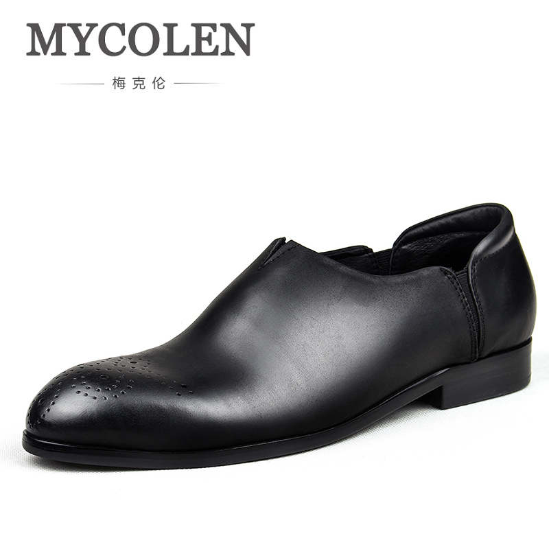 MYCOLEN 2018 High Quality Men Genuine Leather Shoes Brand Casual Leather Men Loafers Slip On Male Shoes Designer Men Flats