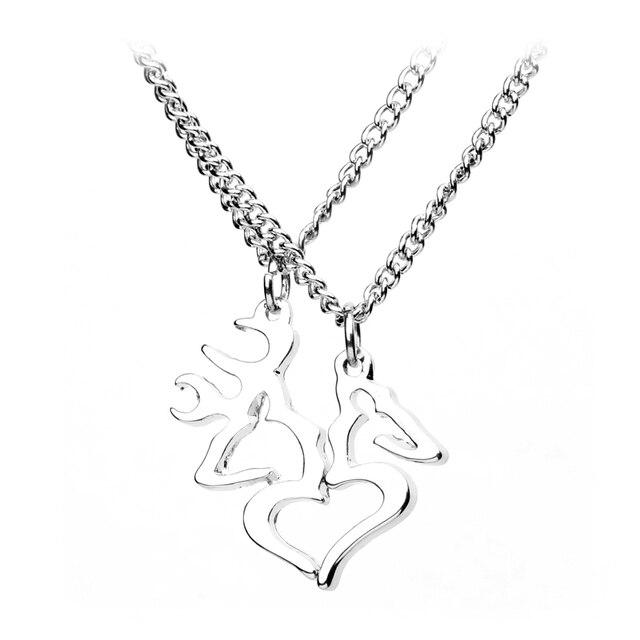 Her Buck His Doe Deer Necklace For Lover Browning Deer Couple