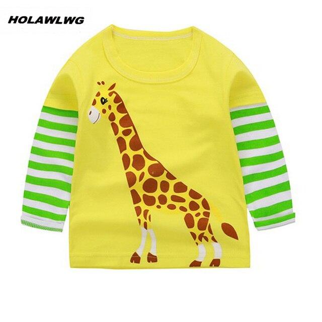248cec64b9 HOLAWLWG 101 New autumn children Giraffe printed clothing kids long sleeve T -shirt baby boys