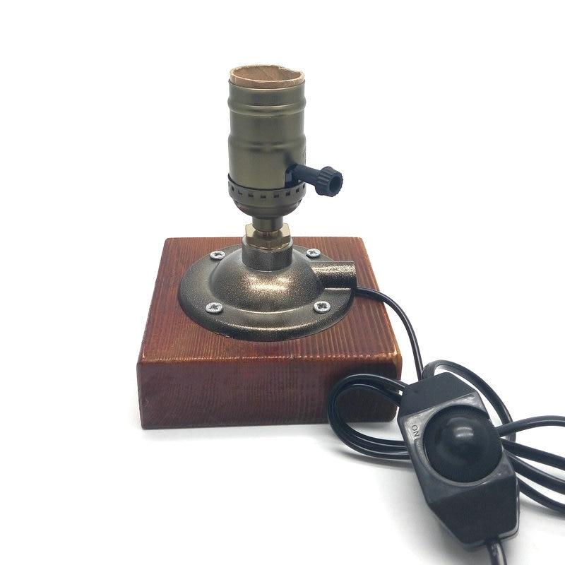 E27 110 В/220 В промышленного ретро Винтаж настольная лампа Эдисона ручка/диммер двойной переключатель дерево настольная лампа с 40 Вт лампа нака...