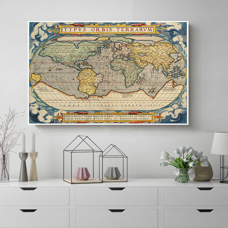 Vintage style poster retro travel world map wall art sticker ocean vintage style poster retro travel world map wall art sticker ocean map classic print picture decorative canvas painting oil art in painting calligraphy gumiabroncs Choice Image