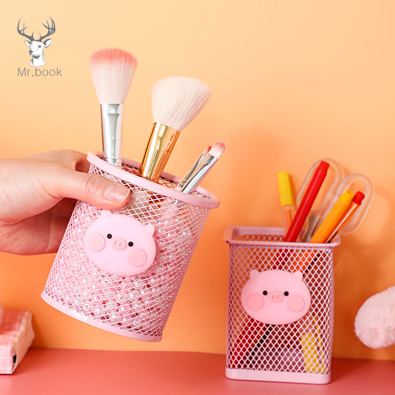 Cartoon Pink Pig Iron Pen Holder Office Organizer Cosmetics Makeup Brushes Tool Cup Holder Case Pencil Container Office Supplies