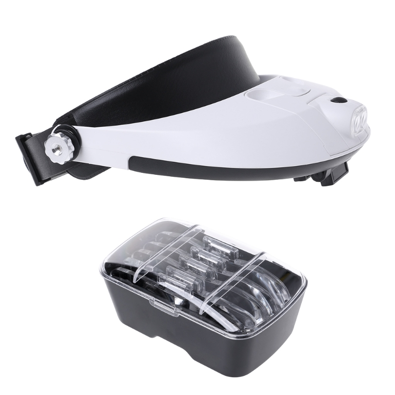 цена на LED Lamp Light Magnifiers Headband Headset Head Jeweler Magnifier Magnifying Glass Loupe