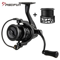 Piscifun Carbon X Spinning Reel with Spare Spool 5.2:1/6.2:1 Gear Ratio Light to 162g 11BB 15KG Max Drag Fishing Reel