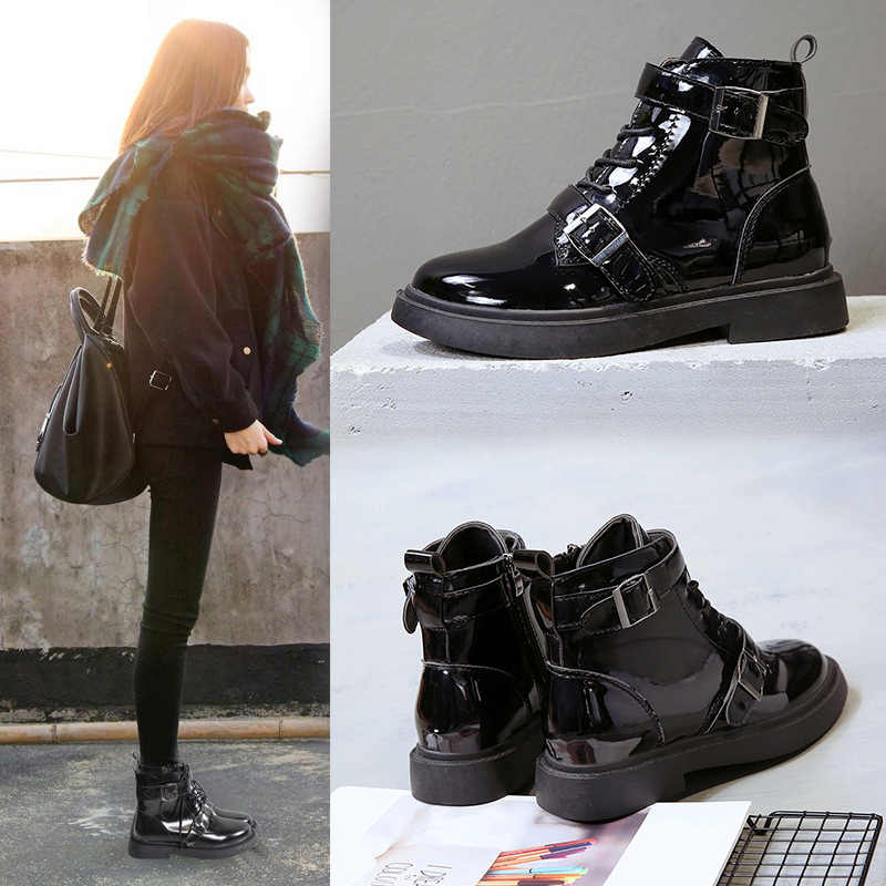 japanned leather buckle belt motorcycle boots women British lace up martin  boots autumn winter chelsea ankle 81a7b800aeeb