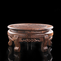 Wooden circular foot high classical vase holder solid wood flowerpot base hand carved carved chicken wing wood round